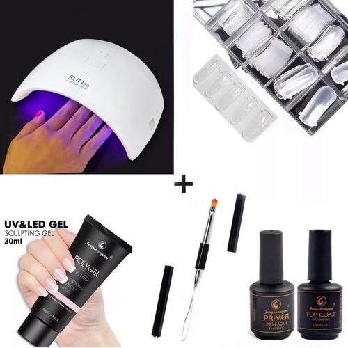 cabine uv led 48w + polygel 30ml + pincel espatula + outros