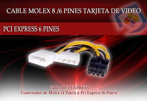 cable 2 molex a 8 pines para tarjeta de video adaptador