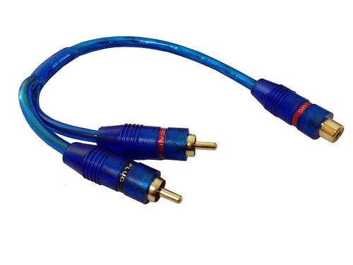 cable 2 plug rca macho a un jack hembra rca azul