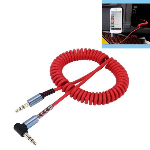 cable 2,5 aux 3 polo conector audio retractil espiral rojo