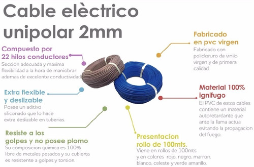 cable 2mm rollo 100 mts