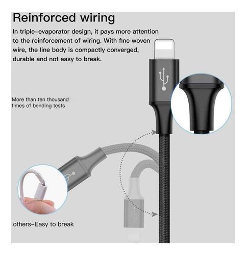 cable 3 en1 carga rapida baseus usb c micro lightning iphone