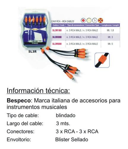 cable 3 rca a 3 rca 3 metros bespeco sl3r180 profesional nnv
