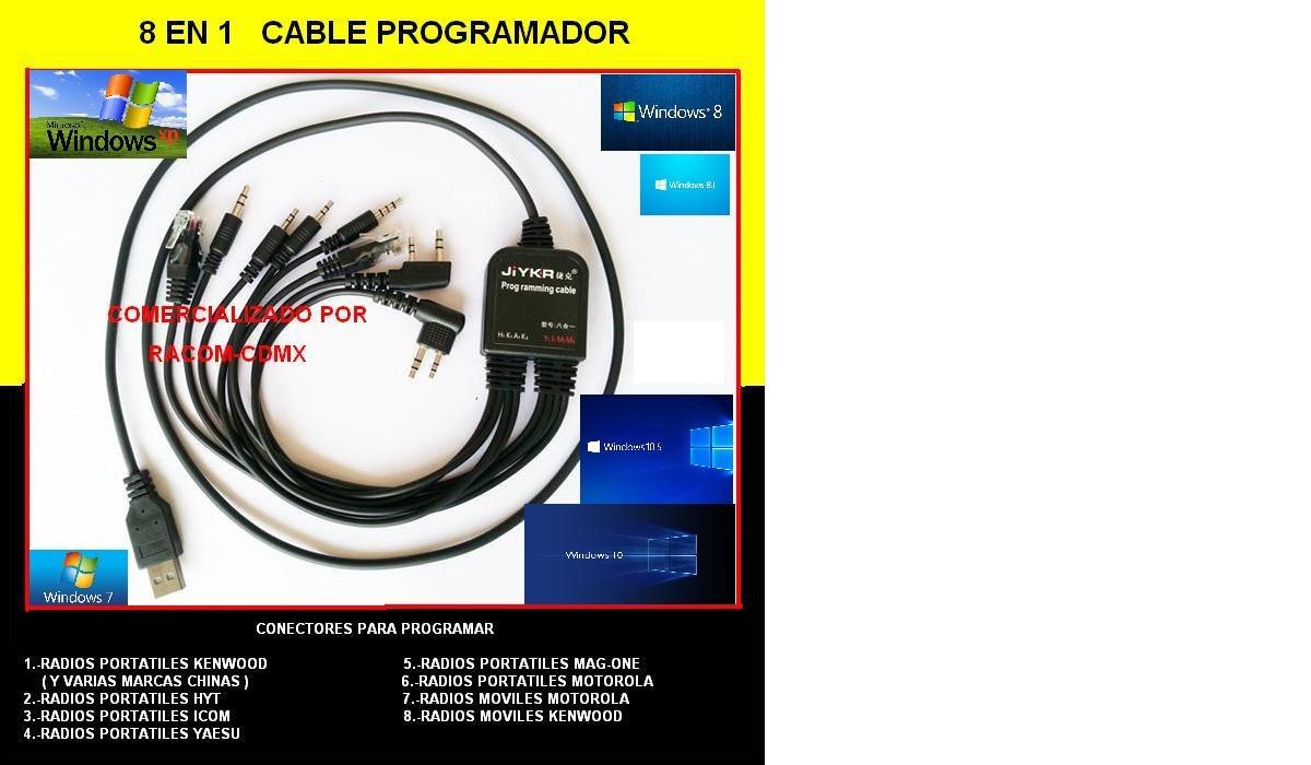 Cable 8 En 1 Programar Radios Profesionales+pack Kenwood A  - $ 890 00