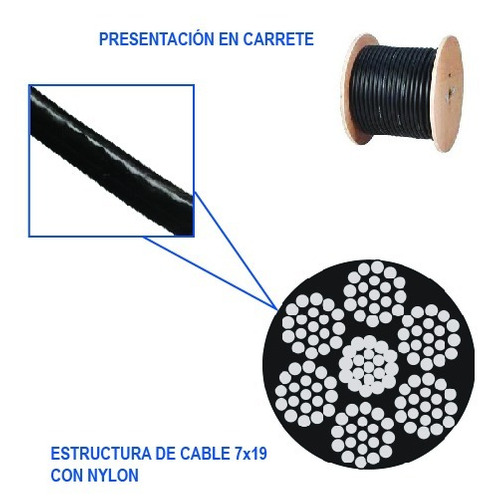 cable acero con nylon gimnasio 7x19 1/8-3/16 negro 1 metro