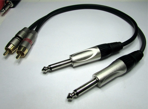 cable adaptador audio 2 plug 6,5 mono a 2  rca macho skp