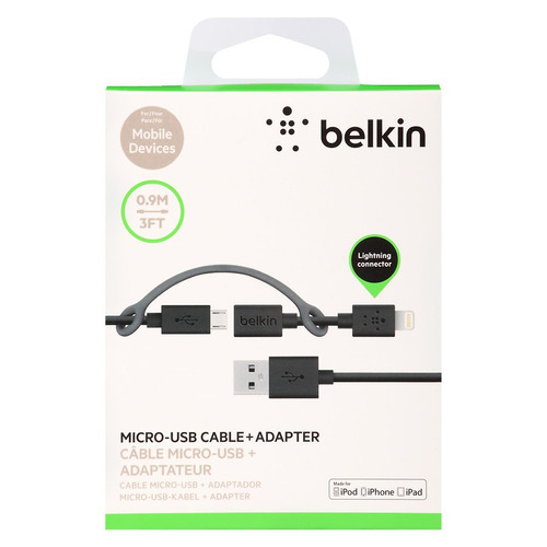 cable adaptador  belkin 2 en 1 micro / lightning telefonos