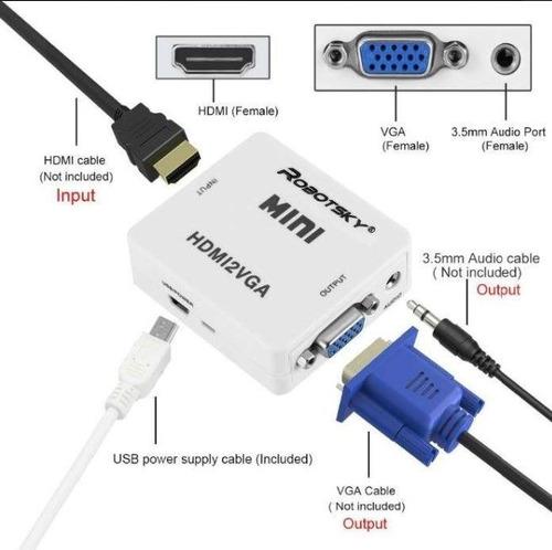 cable adaptador conversor hdmi a vga activo. ps3 ps4. envio