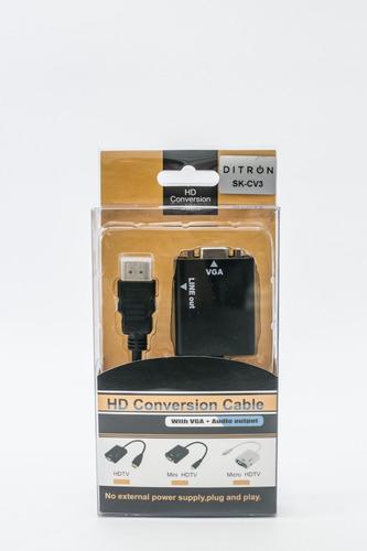 cable adaptador conversor hdmi a vga con audio ditron