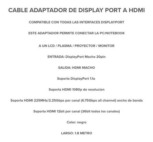 cable adaptador displayport a hdmi full hd 1080p 1.8metro