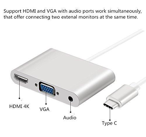 cable adaptador hub 4k usb c a vga hdmi 3,5mm macbook #57