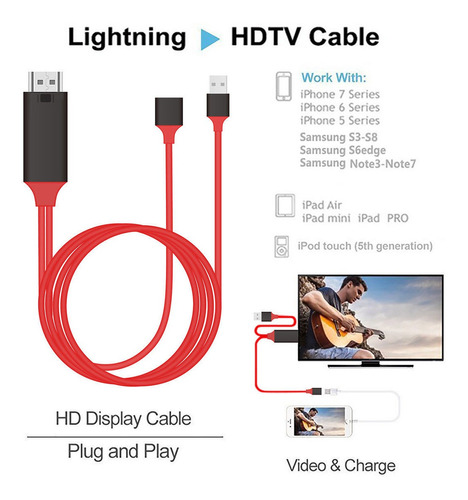 cable adaptador iphone lightning a hdmi hdtv 2mts 1080pixel
