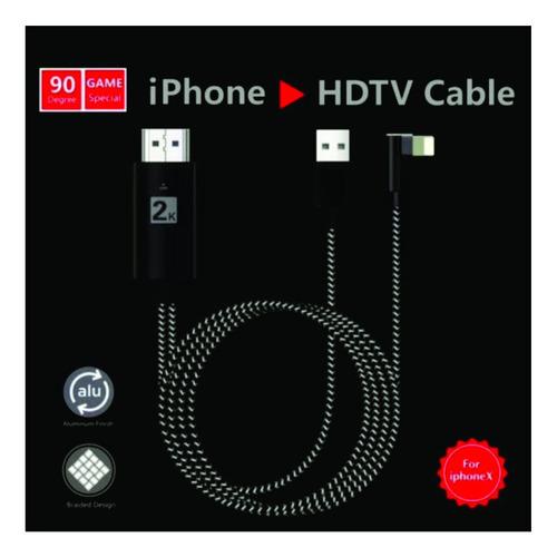 cable adaptador iphone lightning a hdmi hdtv 2mts 90° gamer