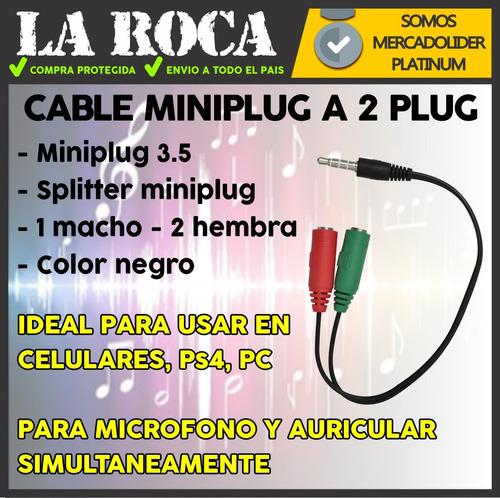 cable adaptador miniplug macho a 2 miniplug hembra ps4 audio