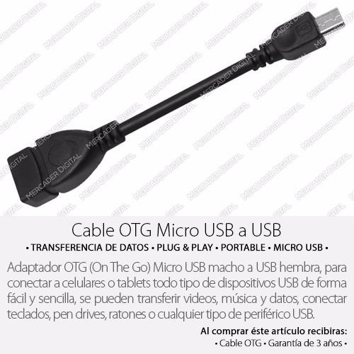 cable adaptador otg micro usb tablet memoria + envío gratis