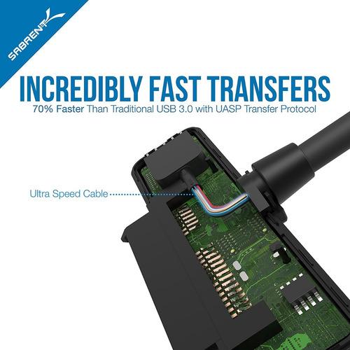 cable adaptador - sabrent usb 3.0 a ssd / hdd sata de 2.5