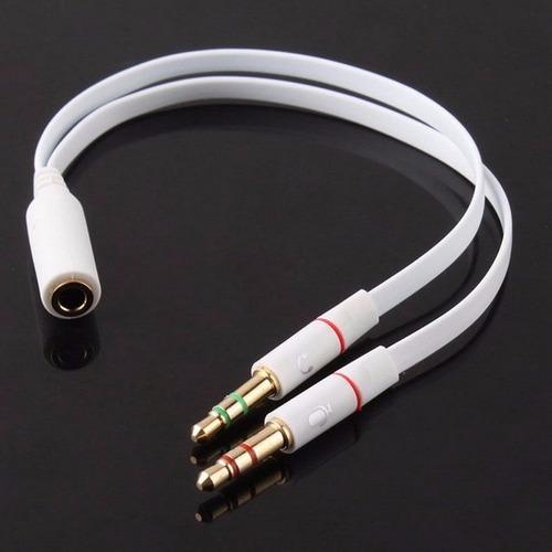 cable adaptador splitter 3.5 mm hembra a 2 macho micrófono