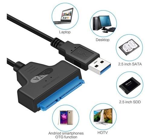 cable adaptador usb-3 a sata 6gbps para hdd/ssd 2.5  mac/pc