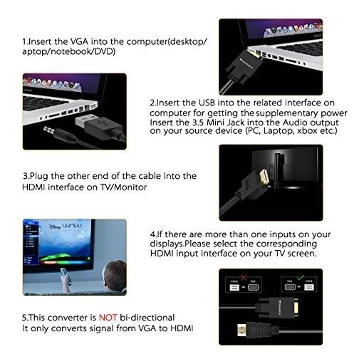 HDMI Input to VGA /& Audio Output Converter Full HD PC//Laptop to Monitor Adapter