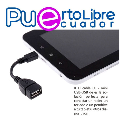 cable adaptadorf otg mini usb a usb - celular teclado tablet