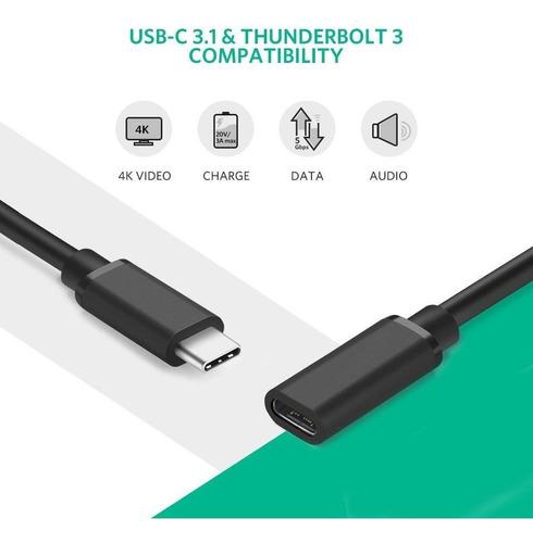 cable alargue 1 metros usb c thunderbolt 3 - hembra / macho