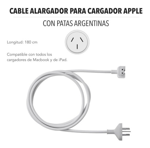 cable alargue cargador mac apple con patas argentinas