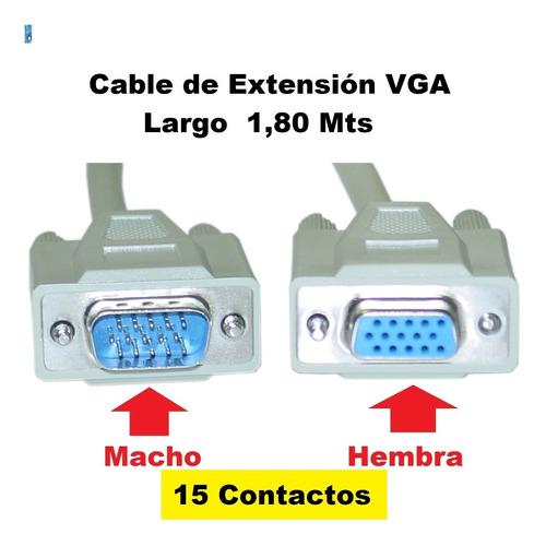 cable alargue macho hembra vga 1,80 mts monitor smarttv etc