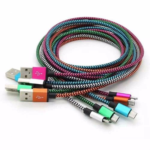 cable aluminio trenzado 3m micro usb datos android galaxy 4g