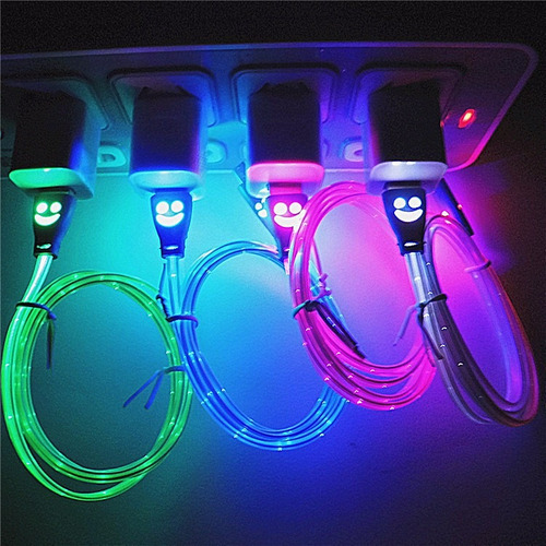 cable android micro usb led multicolor carga datos