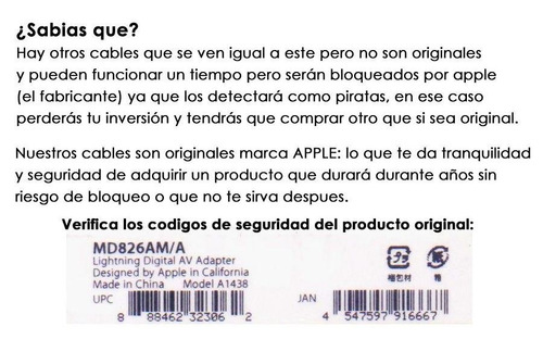 cable apple lightning a hdmi para iphone 5 6 7 8 x ipod ipad