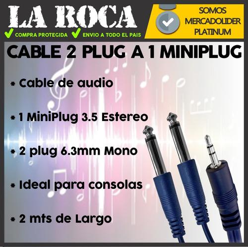 cable armado de miniplug stereo a 2 plug mono de 2 metros