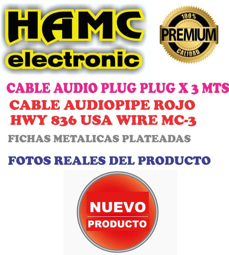 cable audio plug plug 3 mts hamcelectronic
