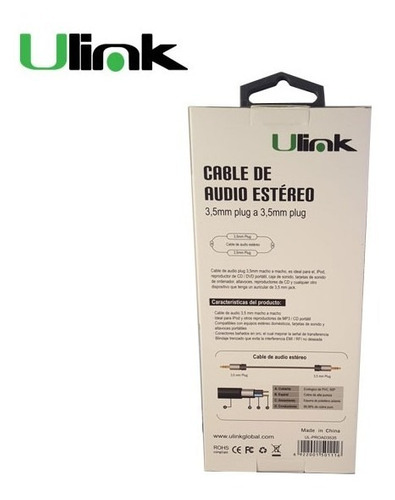 cable audio ulink, 3,5mm a 3,5mm m-m, 1,8 mts alta fidelidad