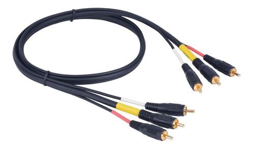 cable audio video 2 mts rca a rca 3x3 macho tv led dvd