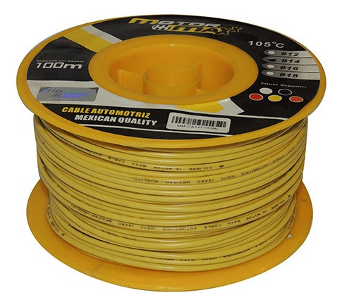 cable automotriz n°14, amarillo, 105°c, 100m