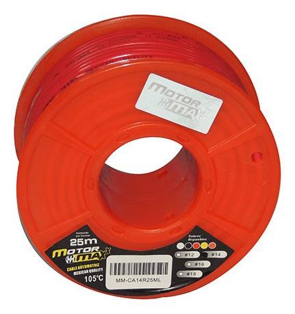 cable automotriz n°14, rojo, 105°c, 25m