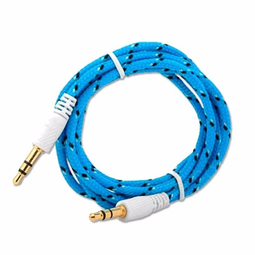 cable auxiliar audio plug 3.5 agujeta tela colores 80cm.