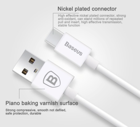 cable baseus tipo usb 5 pines a tipo c macbook, nexus, xiaom