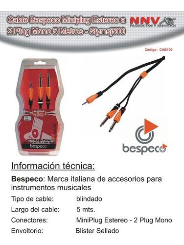 cable bespeco miniplug estereo a 2 plug mono 5 mts slymsj500