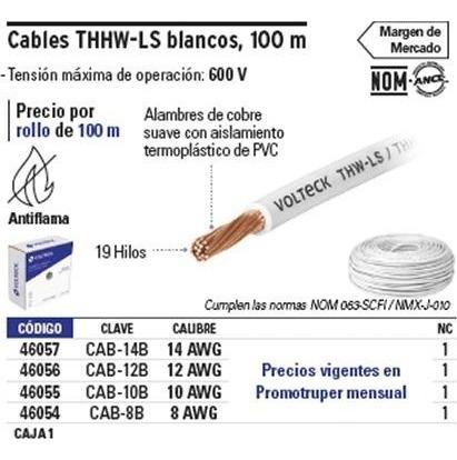 cable calibre 12 thhw-ls blanco voltech 46056