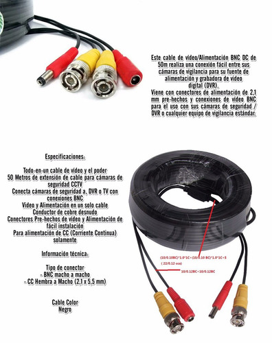 cable camara de seguridad dvr 50 mts