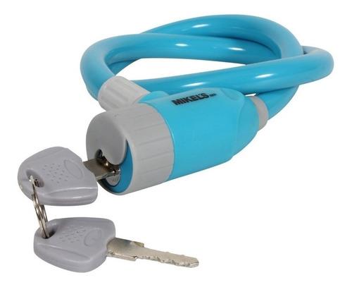 cable candado de seguridad mikels color azul 65 cm plastica