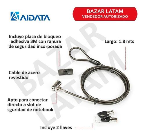 cable candado llave seguridad tablet ipad universal aidata