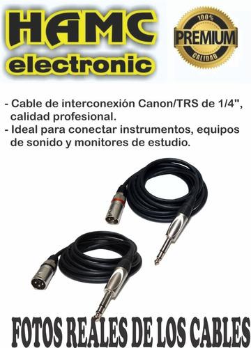cable canon xlr macho a plug trs balanceado 2 mts audiopipe
