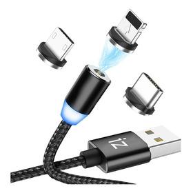 Cable Carga Magnético 3 En 1 Micro Usb, iPhone Y Usb-c