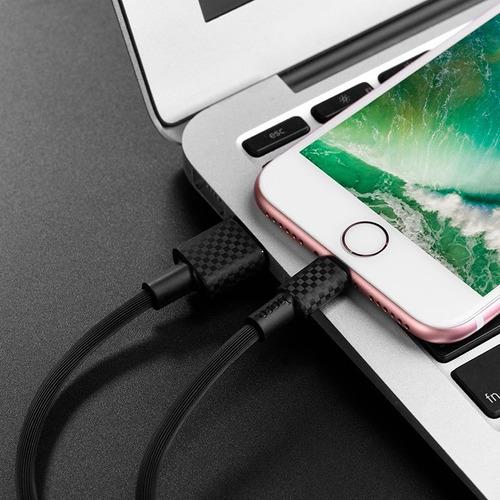 cable carga rápida carbono hoco x29 premium iphone el mejor