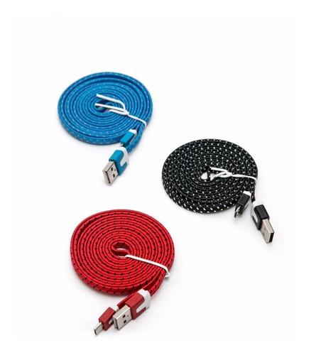 cable carga y datos micro usb plano mallado cb22 1m