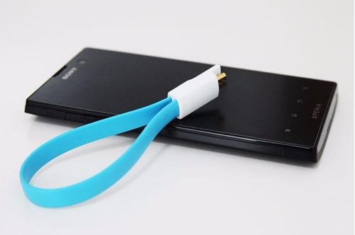 cable cargador azul android imán sincronización micro usb 4g