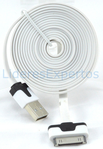 cable cargador datos plano de 2mts iphone 4 4s ipod 30 pines
