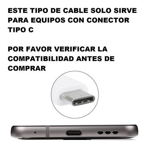 cable cargador datos usb 3.1 huawei p10 plus mate 9 pro p20 p30 lite